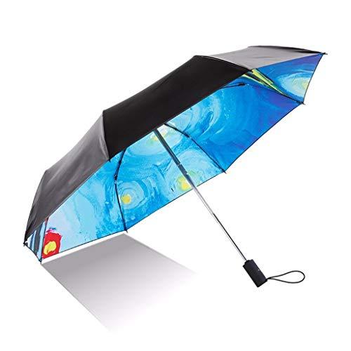 Paraplu Windproof Travel Man Vouwen 3 Vouwen Draagbare Zwarte Coating Anti-UV