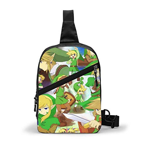The Legend of Zelda - Mochila de pecho para hombre, mujer, de gran capacidad, multifunción, mochila de hombro, casual, Crossbodyviajes, senderismo, vintage