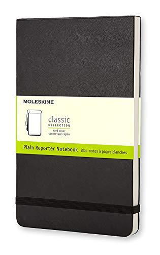 Moleskine - Cuaderno Clásico con Páginas Lisas, Tapa Dura y Goma Elástica, Color Negro, Tamaño Grande 13 x 21 cm, 240 Páginas