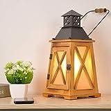 E27 lampade da tavolo vintage in legno per soggiorno, lampada da comodino in metallo rustico antico decorativo 2 in 1 grande accento antico, portacandele uragano Steampunk con spina