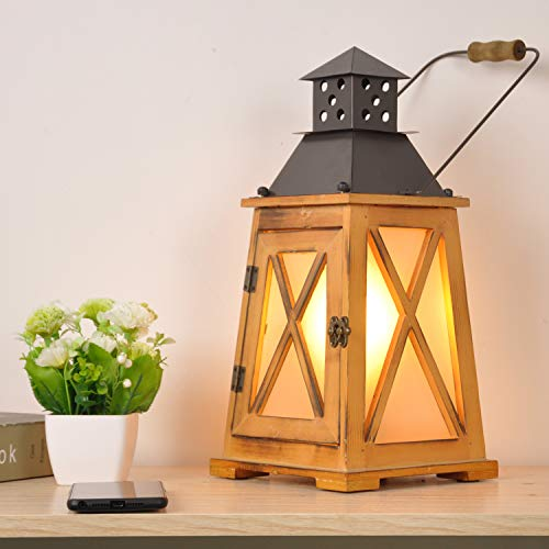 Vintage Wood Lanterns Table Lamps e27 for Living Room,2 in 1 Industrial Decorative Large Accent Antique Rustic Metal Bedside Desk Lamp, Steampunk Hurricane Candle Holder for Porch with Electric Plugs