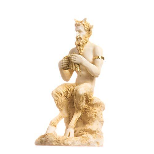 BeautifulGreekStatues Satyr Pan Panas Griechisch - Römische Statue Handgemachte Alabaster Gold Männchen Abbildung 12cm