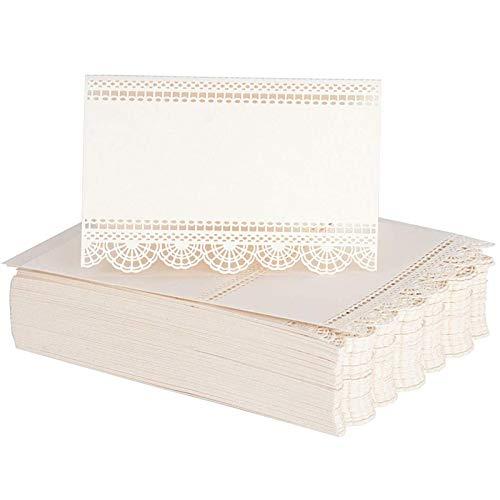50 tarjetas de asiento de boda, tarjetas de nombre de mesa de fiesta, marfil, grabado láser, decoración perfecta para bodas, fiestas de cumpleaños o banquetes y otras fiestas