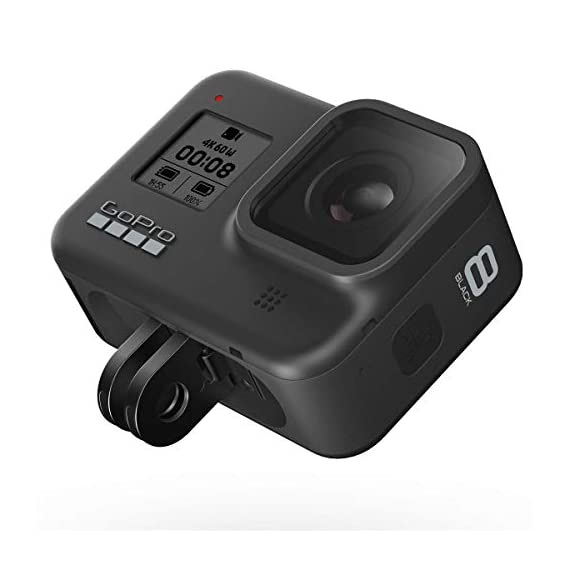 Gopro hero8 black, waterproof digital sports and action camera with touch screen 4k uhd video 12mp photos, power bundle… 3 kit includes: gopro hero 8 black camera (chdhx-801) | rechargeable battery (1220mah) | curved adhesive mount | mounting buckle | usb-c cable | thumb screw| gopro dual battery charger (gpajdbd001) | 3x gopro rechargeable battery (gpajbat001) | sandisk 128gb extreme uhs-i class 10 v30 u3 microsdxc memory card, sd adapter | prooptic complete optics care and cleaning kit key features: 4k60 video + 12mp photos | hypersmooth 2. 0 video stabilization | timewarp 2. 0 time-lapse video | night time-lapse video | 1080p live streaming | superphoto + improved hdr | foldable mount fingers | liveburst image capture | digital lenses (superview, wide, linear, narrow) | rugged + waterproof 33ft (10m) | 8x slo-mo video | 2-inch intuitive touch screen | face, smile + scene detection | 3 built-in mics with reduced wind noise | usb-c charging | wi-fi + bluetooth enabled warranty: gopro authorized reseller. Includes a limited gopro 1 year usa warranty.