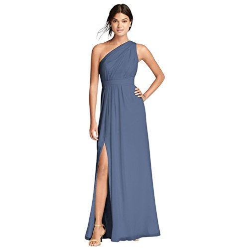 David's Bridal Long One-Shoulder Crinkle Chiffon Bridesmaid Dress Style F18055, Steel Blue, 24