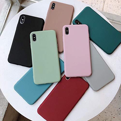 Hexiaoyi Fundas for Parejas de Silicona de Color sólido for iPhone XR X XS MAX 6 6S 7 8 Plus Funda de teléfono Simple Suave de Color Caramelo (Color : Black, Size : For iPhone 6Plus 6SP)