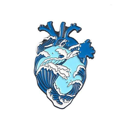 Joyería de órganos Corazón Broche de corazón Valiente broches Médico Pin de la Solapa la Insignia