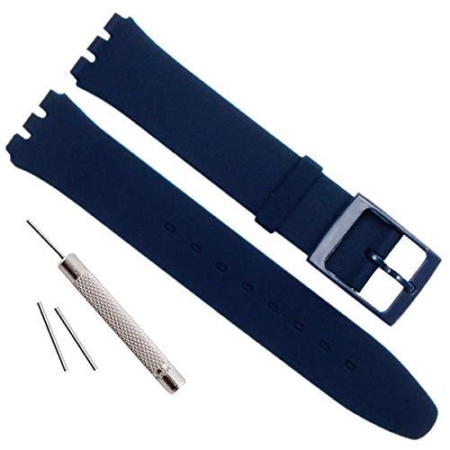 Correa de repuesto ultrafina de silicona resistente al agua para reloj Swatch de la serie Skin (16mm, Azul marino)