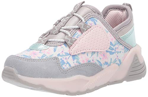 OshKosh B'Gosh Girls Prynce Sneakers, Grey/Pink, 7 Toddler