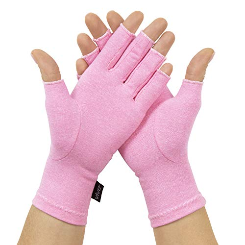 Vive Pink Arthritis Hand Compression Gloves - Comfortable Fit for Men and Women - Open Finger for Rheumatoid, Osteoarthritis and Computer Typing Pain - Carpal Tunnel Support - Moisture Wicking Fabric