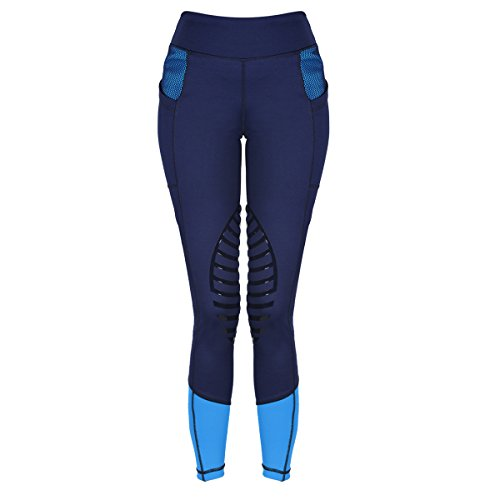 HR Farm Women's Silicone Tights Horse Riding Gel Grip Pull On Leggings with Pocket UPF50+ (Navy, Medium)