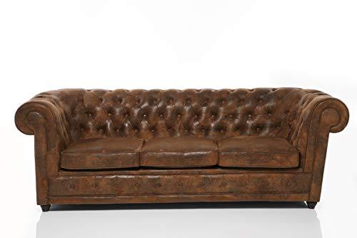 Kare Design Sofa Oxford 3-Sitzer Vintage Econo, Sitzmöbel in Echtleder Optik, robuste Couch im Kolonialstil, Vintage Sofa,(H/B/T) 76x220x92cm