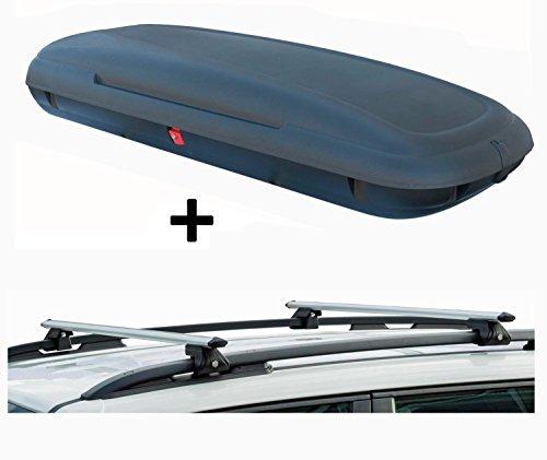 VDP VDP-CA480 Dachbox 480 Ltr Carbon Look abschließbar + Alu Relingträger CRV120 kompatibel mit Dacia Dokker 3-ab 12 abschließbar