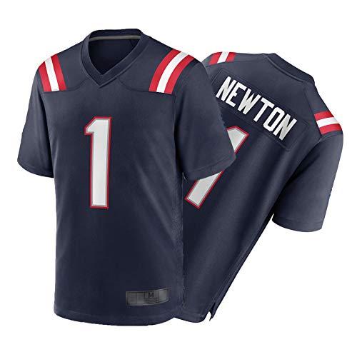 CǎM Něwtǒn Benutzerdefinierte Trikots, No.1 Herren im Freien American Football Trikots, Casual Polyester Kurzärmelige Sweatshirts für Fans zu Hause Black-M