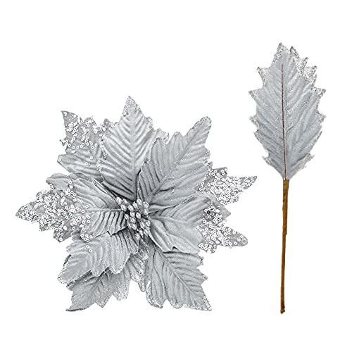 Hanture, 6 plettri artificiali per albero di Natale con paillettes, con decorazione a forma di stella di Natale regolabile, in seta da 20,8 cm, ideale come decorazione per Natale, casa, Capodanno