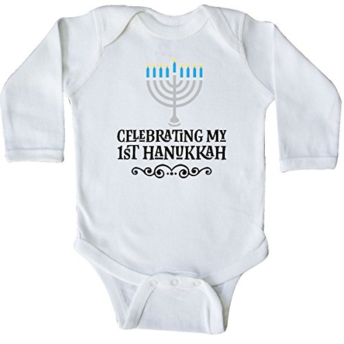 inktastic My 1st Hanukkah Celebration Long Sleeve Creeper Newborn White 2c3b3