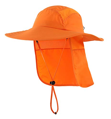 Home Prefer Mens UPF 50+ Sun Protection Cap Wide Brim Fishing Hat with Neck Flap (Orange)