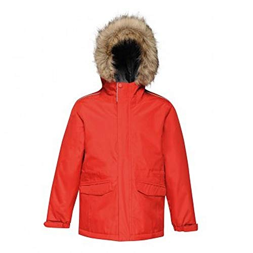 Regatta Kinder Professional Kids Cadet Waterproof Insulated Faux Fur Hooded Parka Jacket with Safety Reflective Detail Jacke, Klassisches Rot (Seal Grey), Size: 7-8