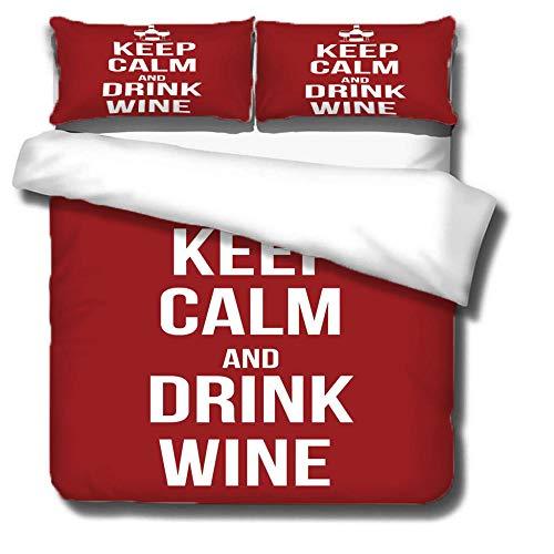 ZSDFPW Funda de edredón Patrón de Copa de Vino Rojo Carta Blanca Ropa de Cama Anti alergico Cierre de Cremallera 200cmx200cm 2 Fundas de Almohada 50cmx75cm para Dormitorio de Sala de Estar