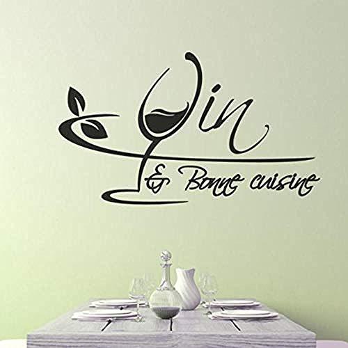 Zykang 3D Wandaufkleber Aufkleber Französisch Küche Vin Et Bonne Vinyl Wandaufkleber Aufkleber Wandbild Wandkunst Tapete Küche Fliesen Wohnkultur Poster 45X75 Cm Anpassbare