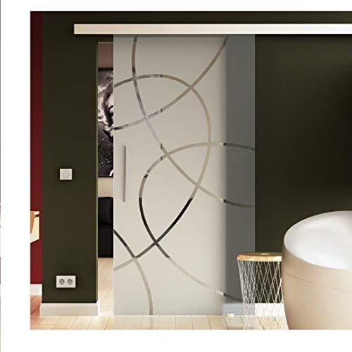 Glasschiebetür 90x205 cm in ESG-Milchglas mit Ellipsen-Dessin (E) Levidor® EasySlide-System komplett. Laufschiene und Stangengriffe, Schiebetür aus Glas für Innenbereich