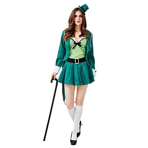 Lhlxs Erwachsene britischen St. Parque Festival Kostüm irischer Kobold Erwachsene Frau Magier Cosplay Halloween Karneval Ostern,L