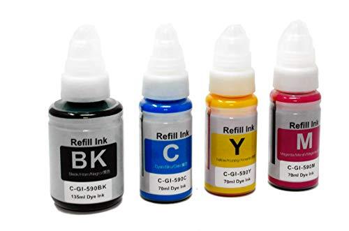 OBV Sparset 4X Tinte ersetzt GI-590 / GI-490 kompatibel mit Canon Pixma G1500 G2500 G3500 G4400 G4500 Serie schwarz, Cyan, Magenta, gelb/schwarz 135ml (6000 Seiten) / farbig je 70 ml (7000 Seiten)