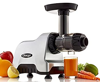 Omega Compact Slow Speed Multi-Purpose Nutrition System Juicer with Quiet Motor Creates Continuous Fresh Healthy Fruit and Vegetable Juice at 80 RPM 200-Watt Silver