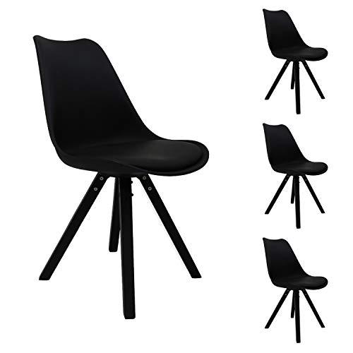 Nicemoods Esszimmerstühle 4er-Set, Modernes Design Esszimmerstühle Schwarz&Grau (alle schwarz)