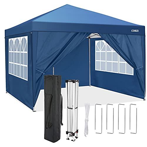 3x3m Faltpavillon Pop-up Pavillon mit Seitenwänden Garten-Pavillon-Festzelt Gewerbliches Sofortschutz-Hochleistungszelt, vollständig wasserdicht (Blau, 3x3m ohne Sandsäcke)