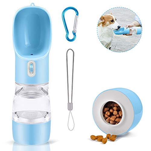 TUNAON Portátil Botella de Agua para Perros Gatos, Multifunción Botella de Agua para Cachorro de Alimentador para Mascotas para Caminar, Viajar al Aire Libre (Azul/258ML)