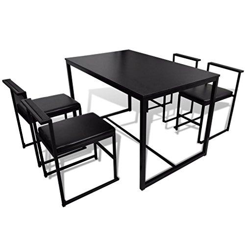 Festnight 5-teilige Essgruppe Tischgruppe aus 1 Esstisch 116x67cm + 4 Stühle Schwarz