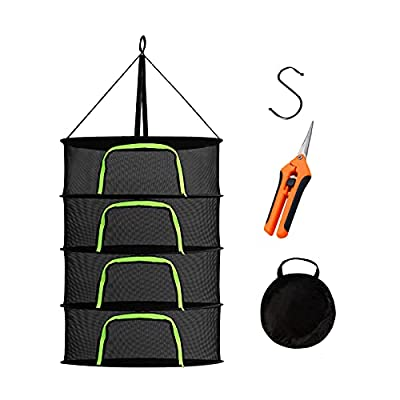Maxasy Herb Drying Rack 4 Tier 2ft Black Mesh Hanging Dry Dryer Net with Pruning Shear for Hydroponics Plants Buds