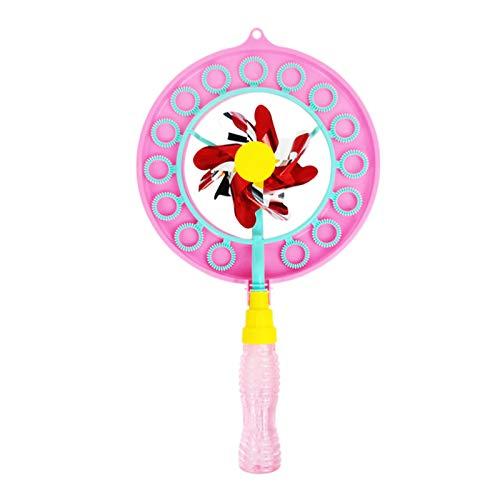 strimusimak Varita de burbujas de viento para niños y niñas, molino de viento de burbujas para juegos de interior y exterior, gran fabricante de burbujas de juguete, regalo de un agujero rosa