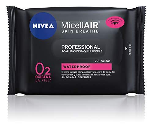 Nivea MicellAIR Professional Toallitas Desmaquilladoras, Waterproof, Pack de 20 Toallitas