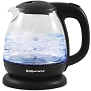 Elite Gourmet EKT1001 Electric BPA-Free Glass Kettle, Cordless 360° Base, Stylish Blue LED Interior, Handy Auto Shut-Off Function – Quickly Boil Water for Tea & More, 1L, Black