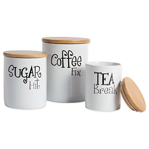 DII Modern Chic Ceramic Kitchen Canister with Bamboo Lid for Food Storage, Serve Coffee, Sugar, Tea, Spices, and More White, Assorted Sizes: 4.5x4.5x5.5, 4x4x4.5, 3x3x4