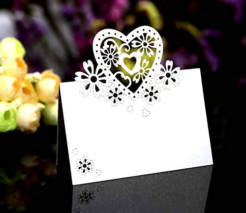 iKesoce 50 Pezzi Segnaposto da Tavolo Matrimonio Cartellini Cartoncino Bigliettino Carta Segna Posto da Tavolo Biglietti Decorazione Matrimonio Battesimo Comunione Festa Compleanno
