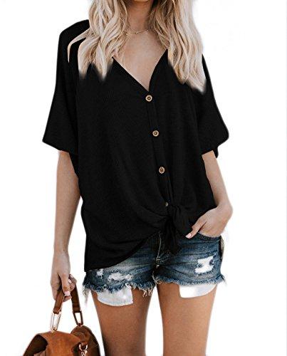 DressUWomen Court - manches Bouton couleur Vogue pur vers le bas Notch Collar Top Tee Femme Noir L