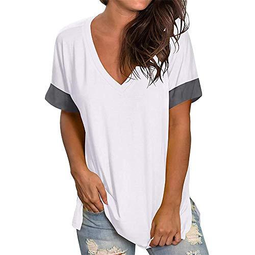 PRJN Camiseta de Manga Corta para Mujer Color sólido Cuello en V Tops Casuales Largos Camiseta de Manga Corta para Mujer Verano con Cuello en V Camisetas básicas Camiseta Casual de Manga Corta