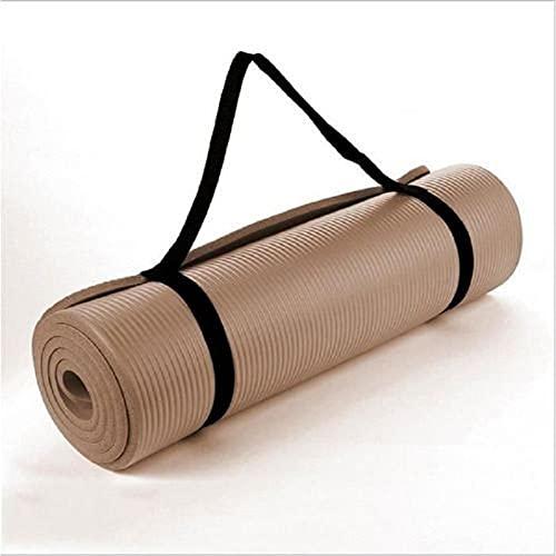 BANLV Colchoneta Antideslizante de Yoga Colchoneta de Pilates 10 mm Colchoneta de Gimnasia Deportiva Colchoneta de Gimnasia 183x61x1cm Marrón