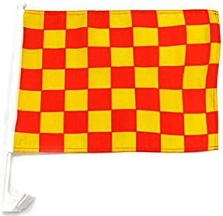 MWS Lot of 2 12x18 Checkered Red and Yellow Single-Sided Car Flag Premium Window Vehicle 12