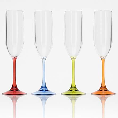 4x Trinkglas 4er Set Sektgläser aus Acryl Plastikglas Kunststoff Campinggeschirr Zubehör Picknick Gläser 200ml bunt Trinkbecher Kunststoff Wasser Cocktail Wein Sekt Champagner Glas Flute Partygeschirr