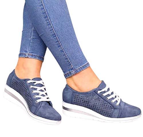 WODETIAN Zapatillas de Mujer Deportivas Zapatos Casuales con Cordones Zapatillas Deportivas Plataforma Cuña Caminar Vestir de Cordones Cómodos Sneaker Zapatos de Cuero de PU,Azul,37