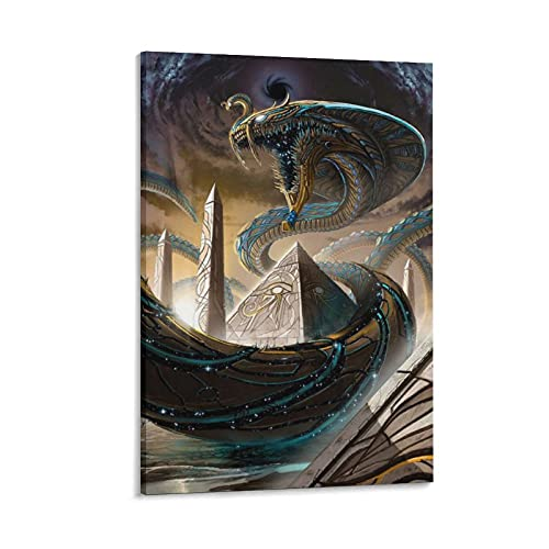 SofiClock The Mythological Poster of The Giant Snake on The Pyramid Poster Decorative Painting Canvas Wall Art Living Room Posters Bedroom Painting 12×18inch(30×45cm)