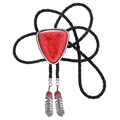 KDG Nature Agate Triangle Shape Bolo Tie For Men Western Cowboy Celtic Black Stone Necktie