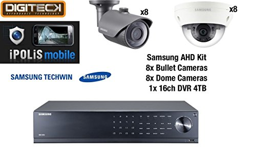 Samsung 16 Cámara 8 Dome & 8 Bullet CCTV Camera Kit & 16 canales DVR 4TB HDD Analog HD...