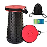 Portable Telescoping Stool with 4400mAh Mobile Charger, Charging Retractable Folding Stool,Rechargeable Collapsible Camping Stool, Lightweight Compact Simple Minimax Telescopic Seat for Adults (Red)