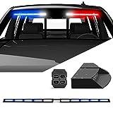 SpeedTech Lights Raptor TIR Upper Windshield Interior Split LED Strobe Visor Light Bar Emergency Lights for Vehicles and Police with Bracket and Control Box - Blue/Blue