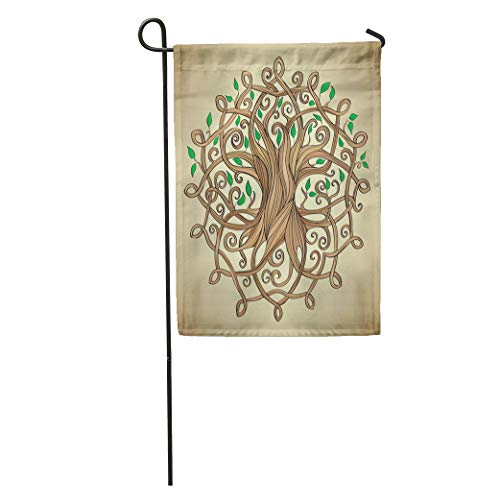 Semtomn Garden Flag Knot Amazing Tree of Life in The Celtic Pattern Leaves Home Yard House Decor Barnner Outdoor Stand 28x40 Inches Flag